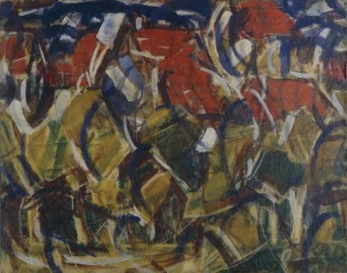 Rote Dächer unter Bäumen, Christian Rohlfs